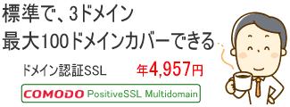 標準で3ドメイン、最大100ドメインカバーできるドメイン認証SSL Comodo PositiveSSL MultiDomain 年4,957円